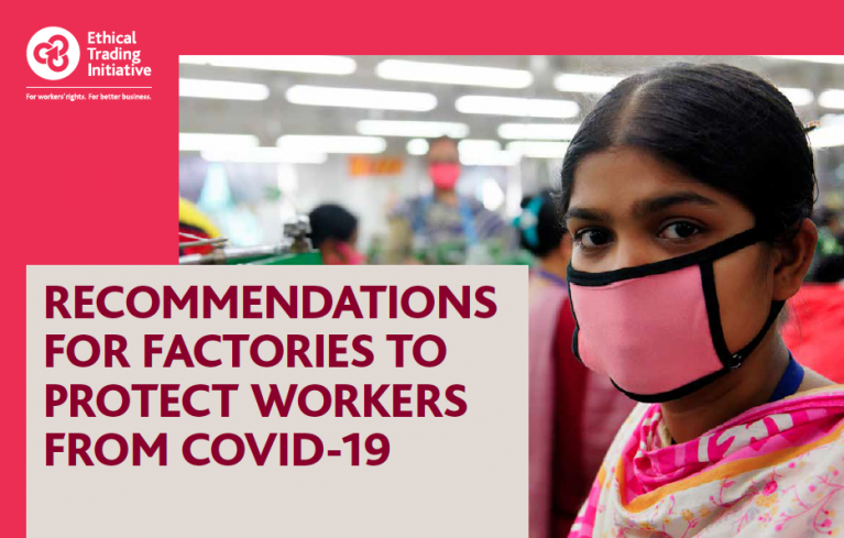 Female garment sector worker wearing a pink facemask, Bangladesh