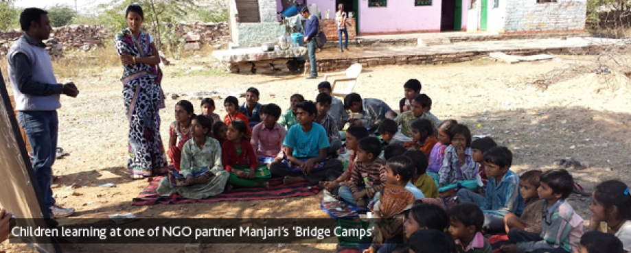 Children learning at one of Manjari's 'Bridge Camps'