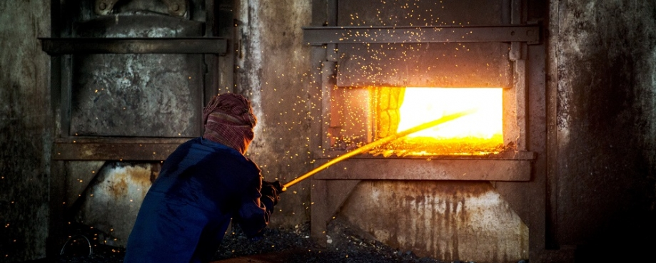 Man working in Indian steel works