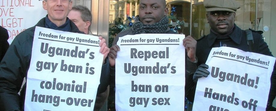 Peter Tatchell (L) demonstrates with Ugandan activists.