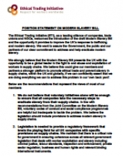 Position statement on modern slavery